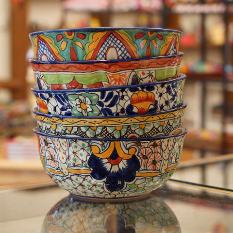 Calabaza Talavera Salad Bowl, Large - Zinnia Folk Arts