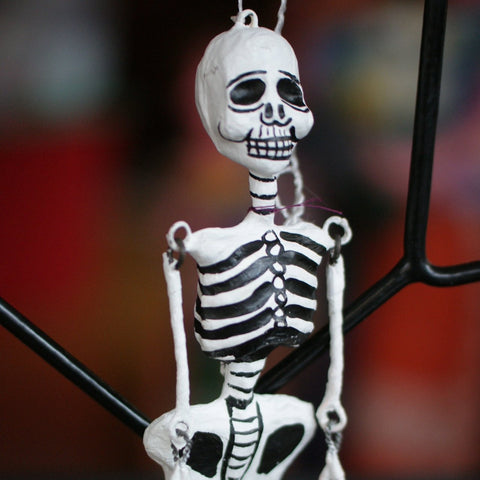 Dangling Day of the Dead Paper Mache Skeletons & Diablitos (Devils) - Zinnia Folk Arts