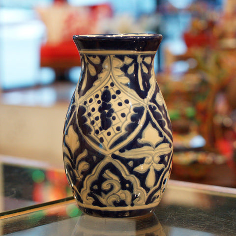 Blue and White Mexican Talavera Flower Vase - Zinnia Folk Arts