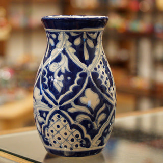 Blue & White Mexican Talavera Flower Vase - Zinnia Folk Arts