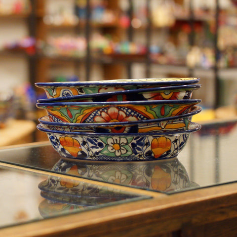 Oval-Shaped Mexican Talavera Serving Bowl - Zinnia Folk Arts