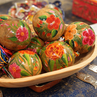 Natural Background Painted Gourd Mexican Christmas Tree Ornaments - Zinnia Folk Arts
