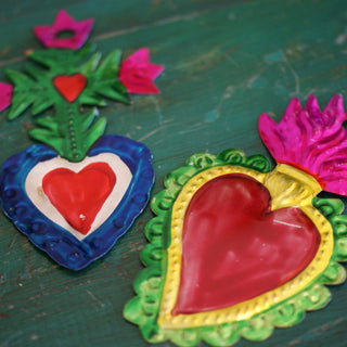 Set of 5 Painted Tin Ornaments - Zinnia Folk Arts