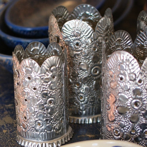 Hammered & Cut Tin Lumenaria or Farolitos - Zinnia Folk Arts