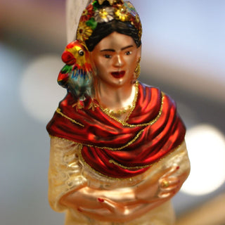 Frida Kahlo Blown Glass Ornament - Zinnia Folk Arts