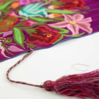 Zinacantán Purple Embroidered Rebozo Shawl - Zinnia Folk Arts