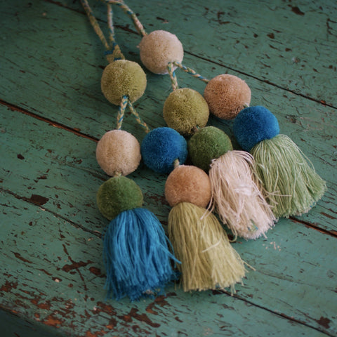 Wool Pompoms, Mixed Colors, Set of 5 or 6  Poms and Tassel - Zinnia Folk Arts