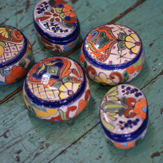 Small Talavera Lidded Boxes - Zinnia Folk Arts