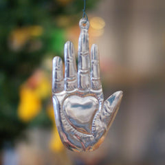 Mexican Hand with Heart Milagro Tin Ornaments, Lg