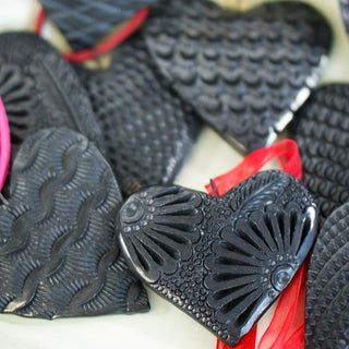 Black Clay Hearts from Oaxaca - Zinnia Folk Arts