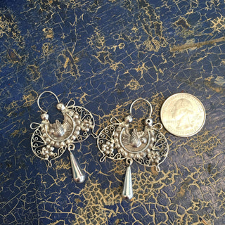 Mariposa Mazahua Sterling Silver Earring with Silver Filagree Drop - Zinnia Folk Arts