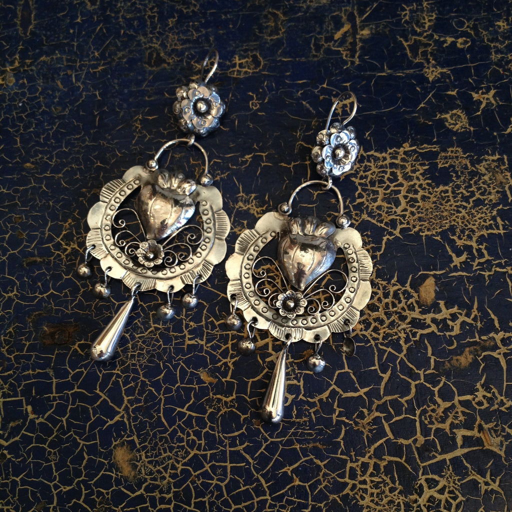 "Large Mazahua Earrings, Corazon con Flor, Sterling, 3.25"" Long - Zinnia Folk Arts"