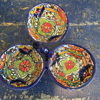 Triple-Bowl Mexican Talavera Salsa Dish With Wavy Edges - Zinnia Folk Arts