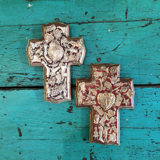 Milagro Covered Cross, Small - Zinnia Folk Arts