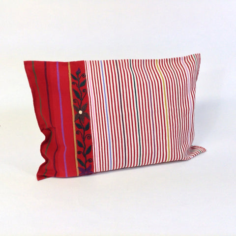 Red and White Striped, Embroidered Pillow Cover from Chiapas, Mexico - Zinnia Folk Arts