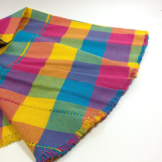Handwoven Colorful Round Mexican Plaid Cotton Tablecloth, 6' - Zinnia Folk Arts