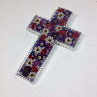 Pewter Mexican Cross with Dried Flowers in Resin - Zinnia Folk Arts