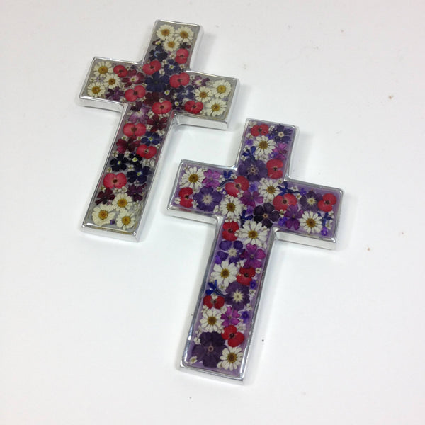 Pewter Mexican Cross with Dried Flowers in Resin