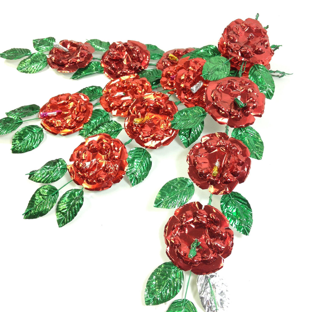 One Spray of Handmade Mexican Aluminum Foil Flowers on Bendable Wire - Zinnia Folk Arts