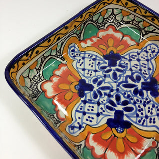 "Square 9""x 9"" Mexican Talavera Baking Pan - Zinnia Folk Arts"