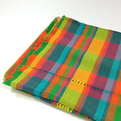 Handwoven Colorful Mexican Plaid Cotton Tablecloth, 8' by 3.5""