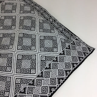 San Andres, Chiapas Dark Gray with White Woven Square Pillow Covers - Zinnia Folk Arts