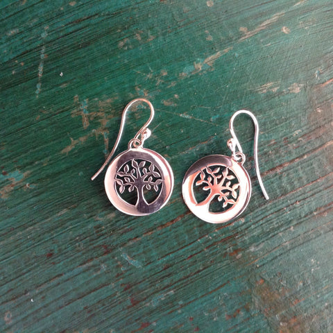 Silver Circles with Oak Tree Earrings - Zinnia Folk Arts