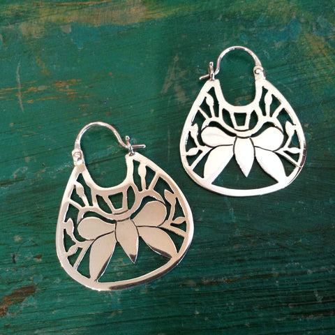 Contemporary Mexican Sterling Silver Mariposa Arracadas - Zinnia Folk Arts
