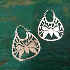 Contemporary Mexican Sterling Silver Mariposa Arracadas