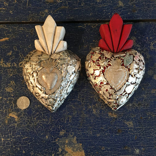 Mexican Milagro-Covered Hearts - Zinnia Folk Arts