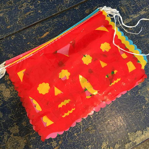 Day of the Dead Plastic Papel Picado, 10 Mexican Flags on a String - Zinnia Folk Arts