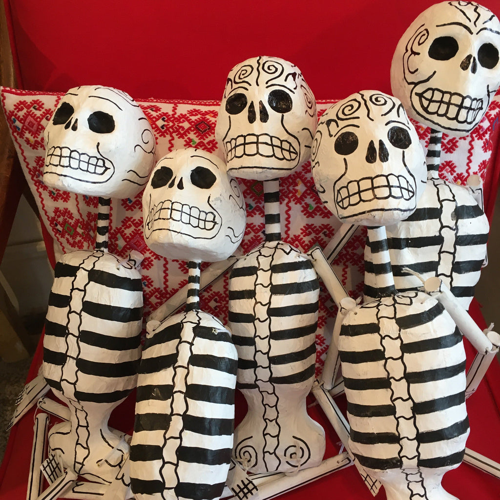Paper Mache Day of the Dead Skeletons, Medium/Large - Zinnia Folk Arts