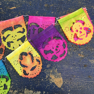 Papel Picado Mini, 10 Mexican Paper Flags on a String - Zinnia Folk Arts