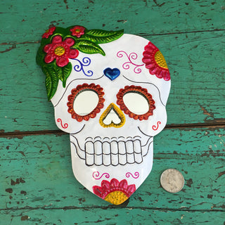 Painted Day of the Dead Mexican Tin Mirror - Zinnia Folk Arts