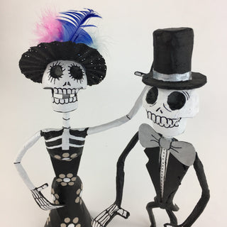 "Paper Mache Catrin and Catrina, 10"" Tall - Zinnia Folk Arts"