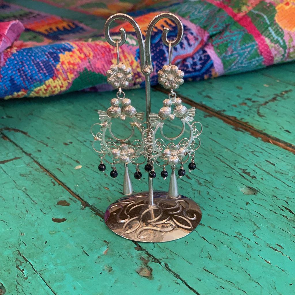 Filagree and Seed Pearl Mexican Silver Earrings - Zinnia Folk Arts