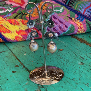 Large Pearl Drops with Silver Flores - Zinnia Folk Arts