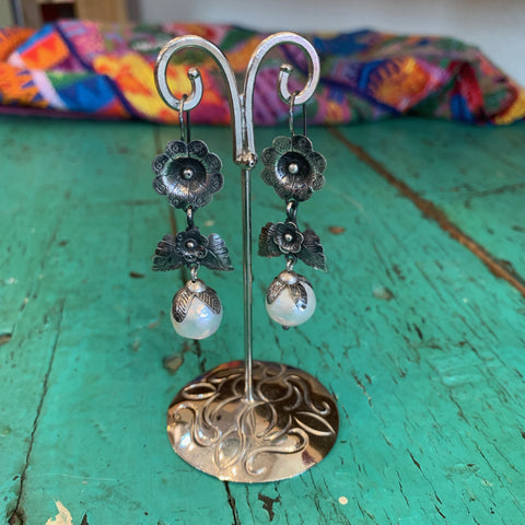 Large Pearl Drops with Silver Flores