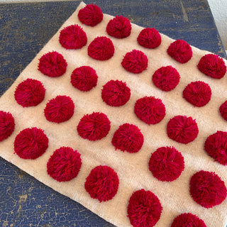 Modern Woven Wool Pillow Covers with Pom Pom Decoration - Zinnia Folk Arts