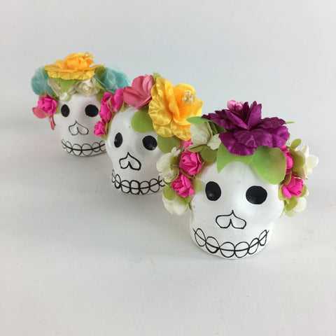 White Clay Day of the Skulls with Flower Headbands - Zinnia Folk Arts