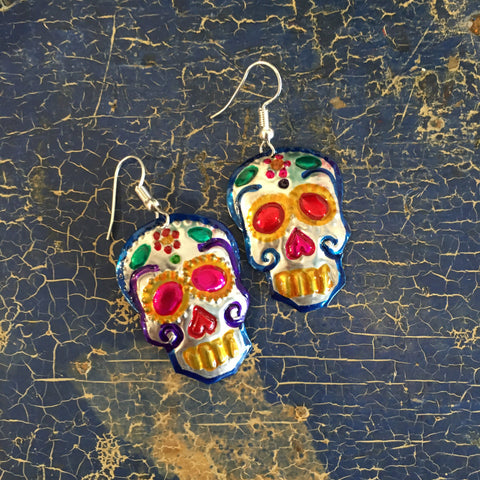 Tin Sugar Skull Earrings - Zinnia Folk Arts
