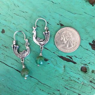 Sterling Silver Roosters with Stone Drop - Zinnia Folk Arts