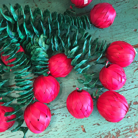 Bouncy Mexican Woven Palma Balls, Set of 12 - Zinnia Folk Arts