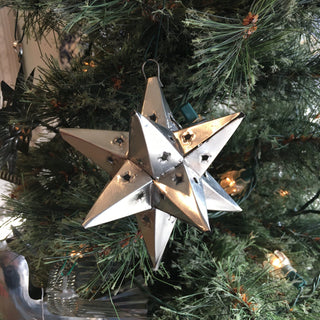 12-Point Mexican Tin Star Christmas Ornament, Unpainted - Zinnia Folk Arts