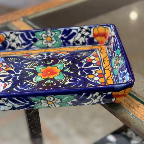 Rectangular Mexican Talavera Baking Dish, Medium Size - Zinnia Folk Arts