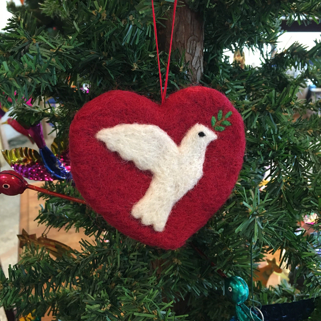 Felted Wool Heart with Dove of Peace Ornament, Guatemala - Zinnia Folk Arts