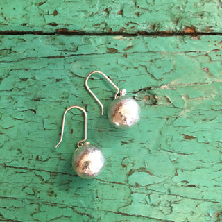 Med Size Sterling Hollow Ball Earrings - Zinnia Folk Arts