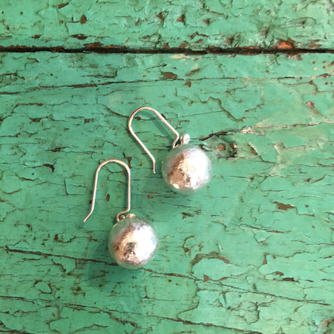Med Size Sterling Silver Hammered Ball Earrings - Zinnia Folk Arts