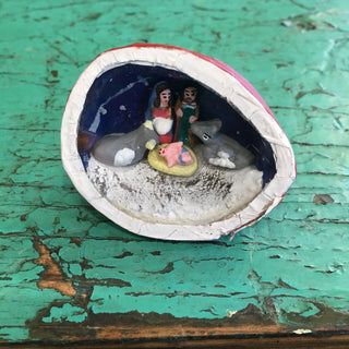 Mexican Nativity Scene in a Walnut - Zinnia Folk Arts