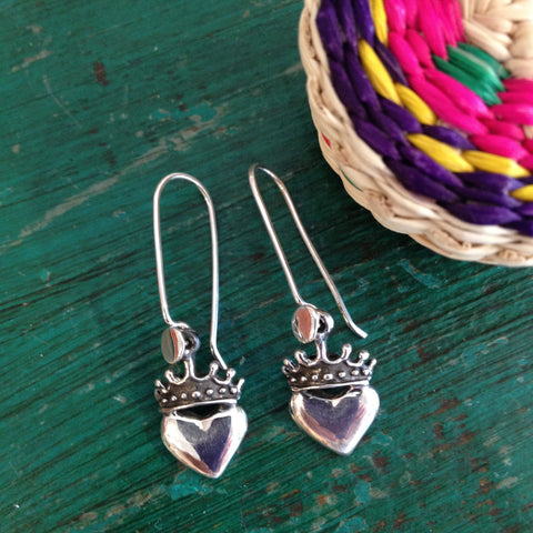 Petite Crowned Sacred Heart Earrings, Sterling Silver - Zinnia Folk Arts